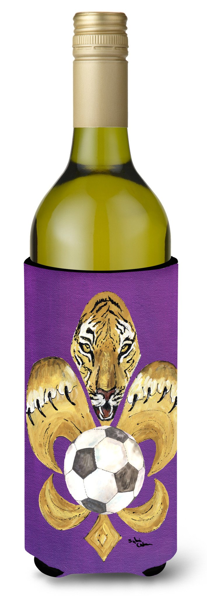 Tiger Fleur de lis Soccer Wine Bottle Beverage Insulator Beverage Insulator Hugger by Caroline's Treasures