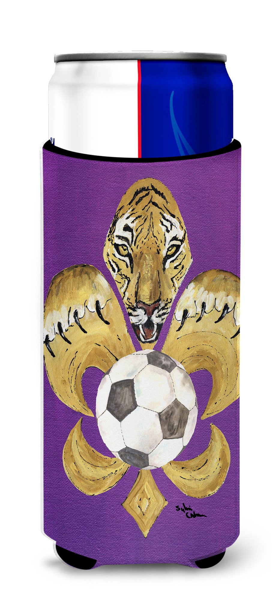 Tiger Fleur de lis Soccer Ultra Beverage Insulators for slim cans 8477MUK by Caroline's Treasures