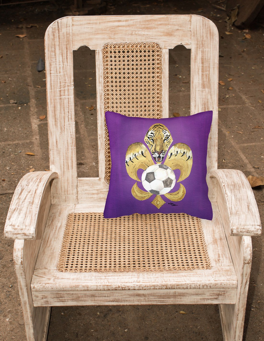 Tiger Fleur de lis Soccer Fabric Decorative Pillow 8477PW1414 by Caroline's Treasures
