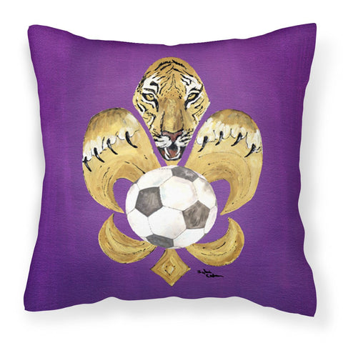 Buy this Tiger Fleur de lis Soccer Fabric Decorative Pillow 8477PW1414