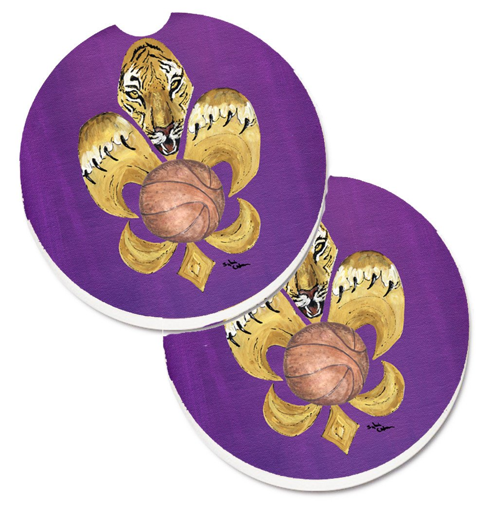Tiger Fleur de lis Basketball Set of 2 Cup Holder Car Coasters 8478CARC by Caroline's Treasures
