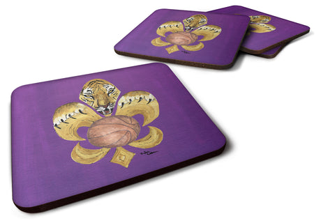 Buy this Set of 4 Tiger Basketball Fleur de lis Foam Coasters