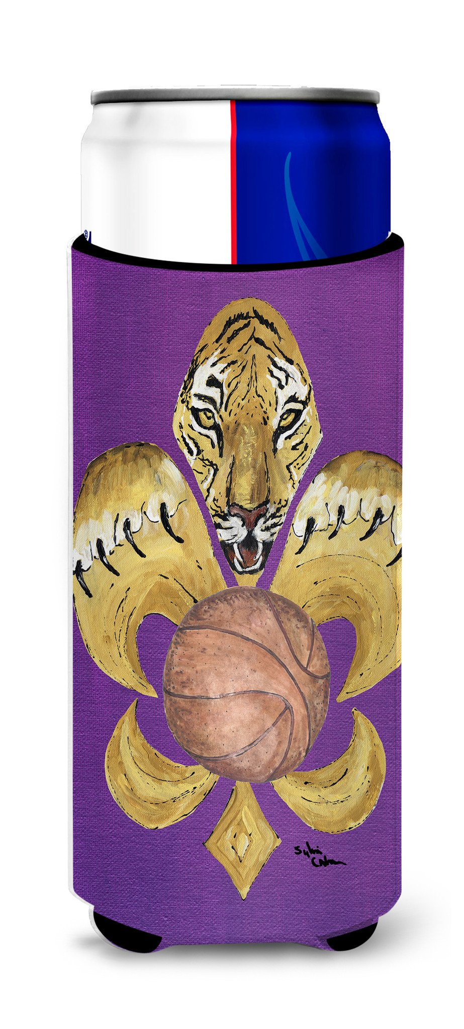 Tiger Fleur de lis Basketball Ultra Beverage Insulators for slim cans 8478MUK by Caroline's Treasures