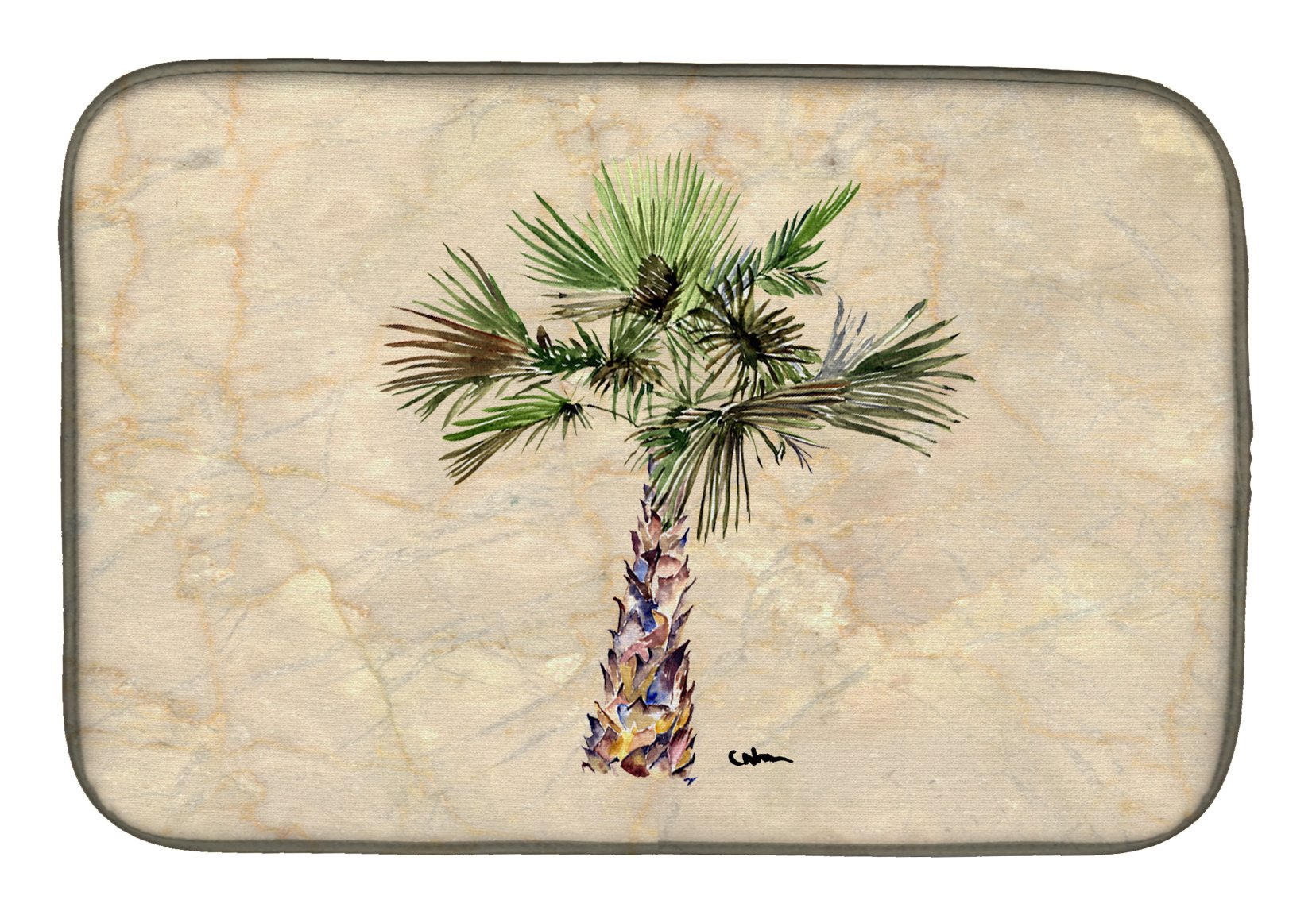 Palm Tree Dish Drying Mat 8480DDM by Caroline's Treasures