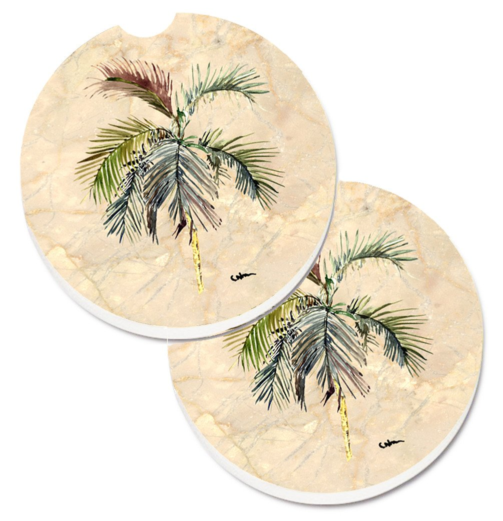Palm Tree Set of 2 Cup Holder Car Coasters 8483CARC by Caroline's Treasures