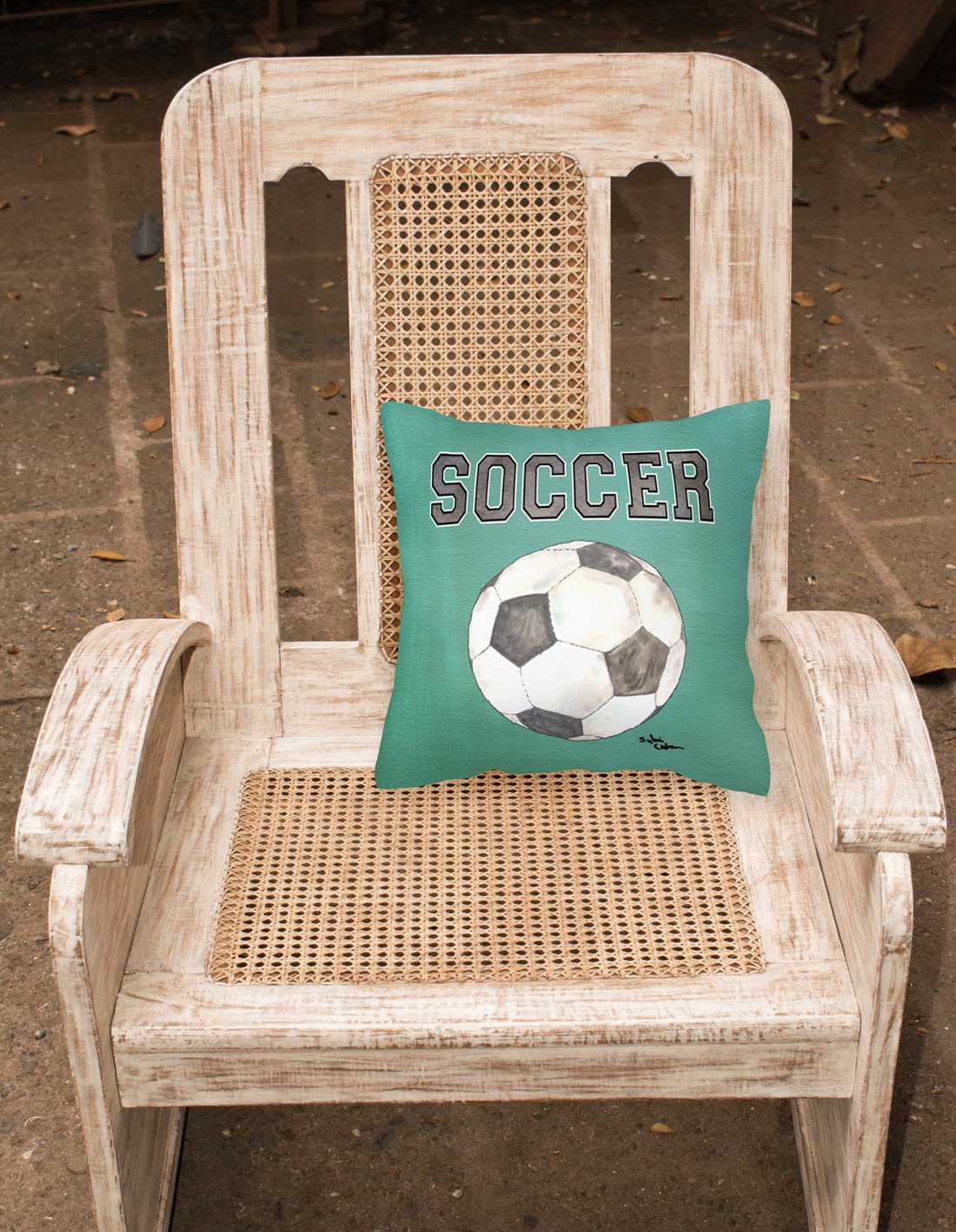 Soccer   Canvas Fabric Decorative Pillow by Caroline's Treasures