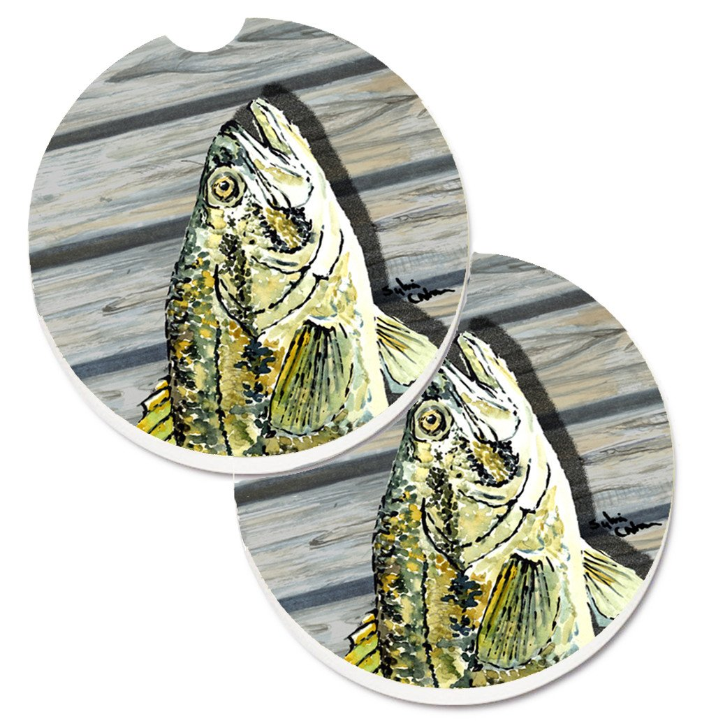Fish Bass Small Mouth Set of 2 Cup Holder Car Coasters 8493CARC by Caroline's Treasures