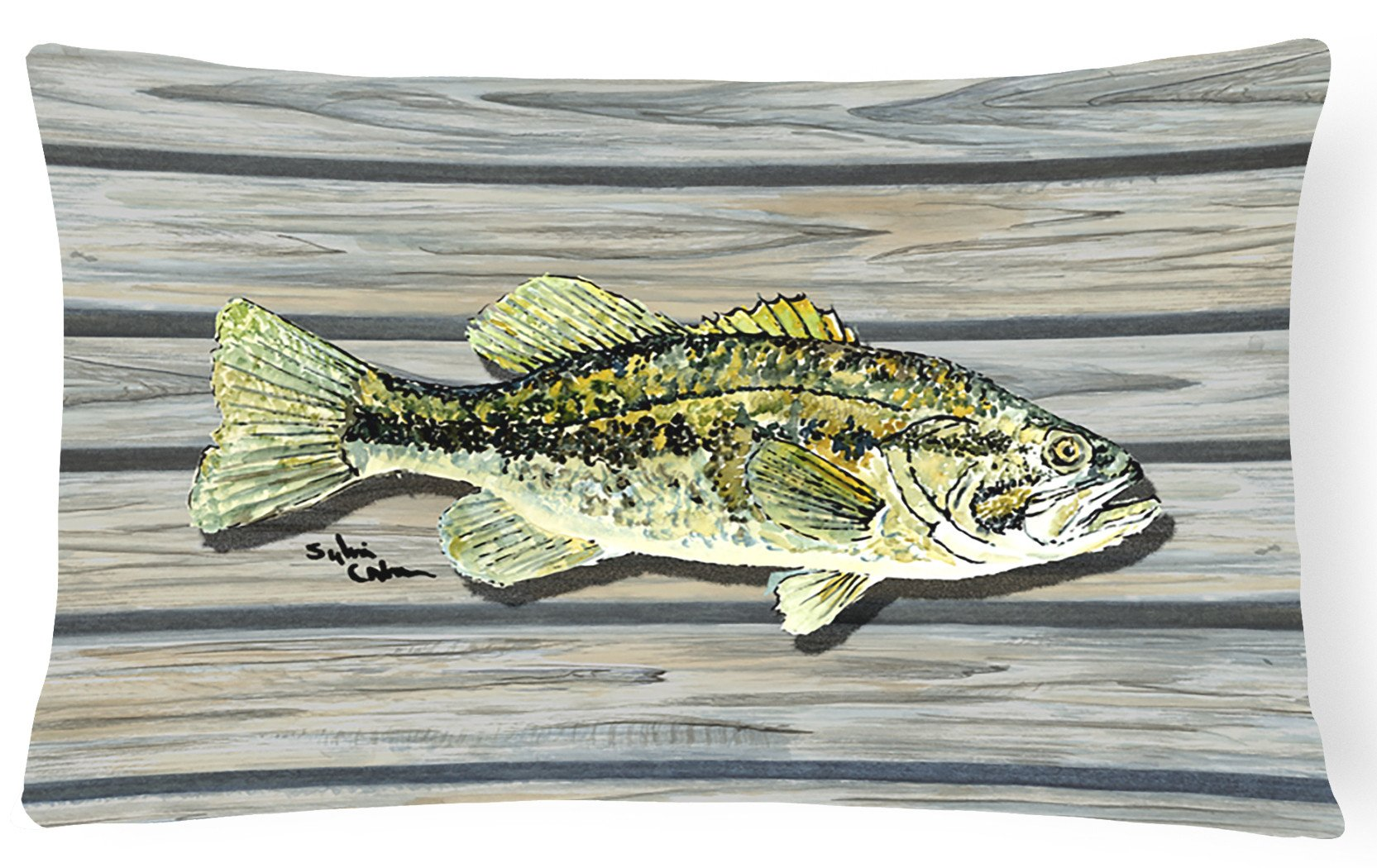 Fish Bass Small Mouth   Canvas Fabric Decorative Pillow by Caroline's Treasures