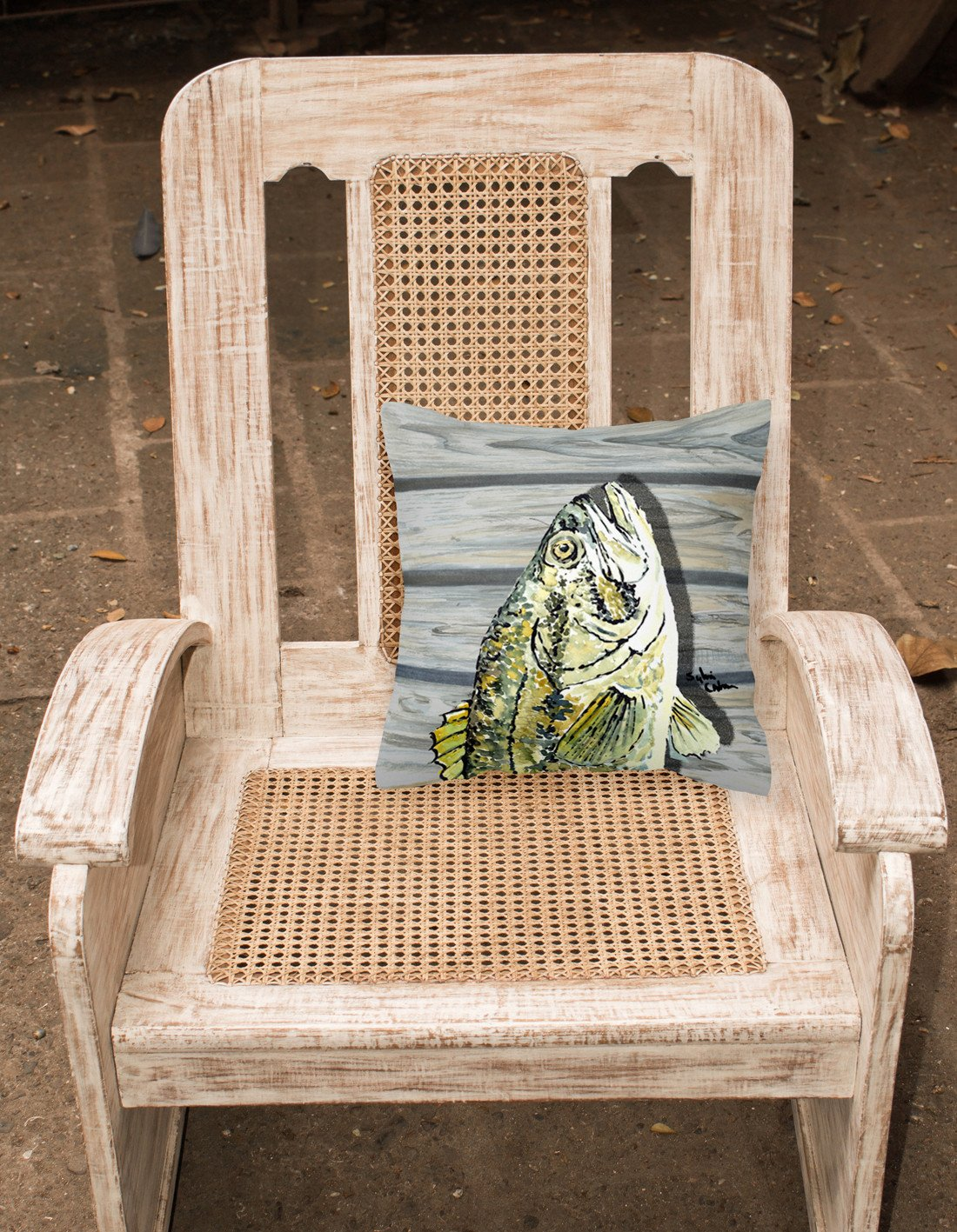 Fish Bass Small Mouth Fabric Decorative Pillow 8493PW1414 by Caroline's Treasures