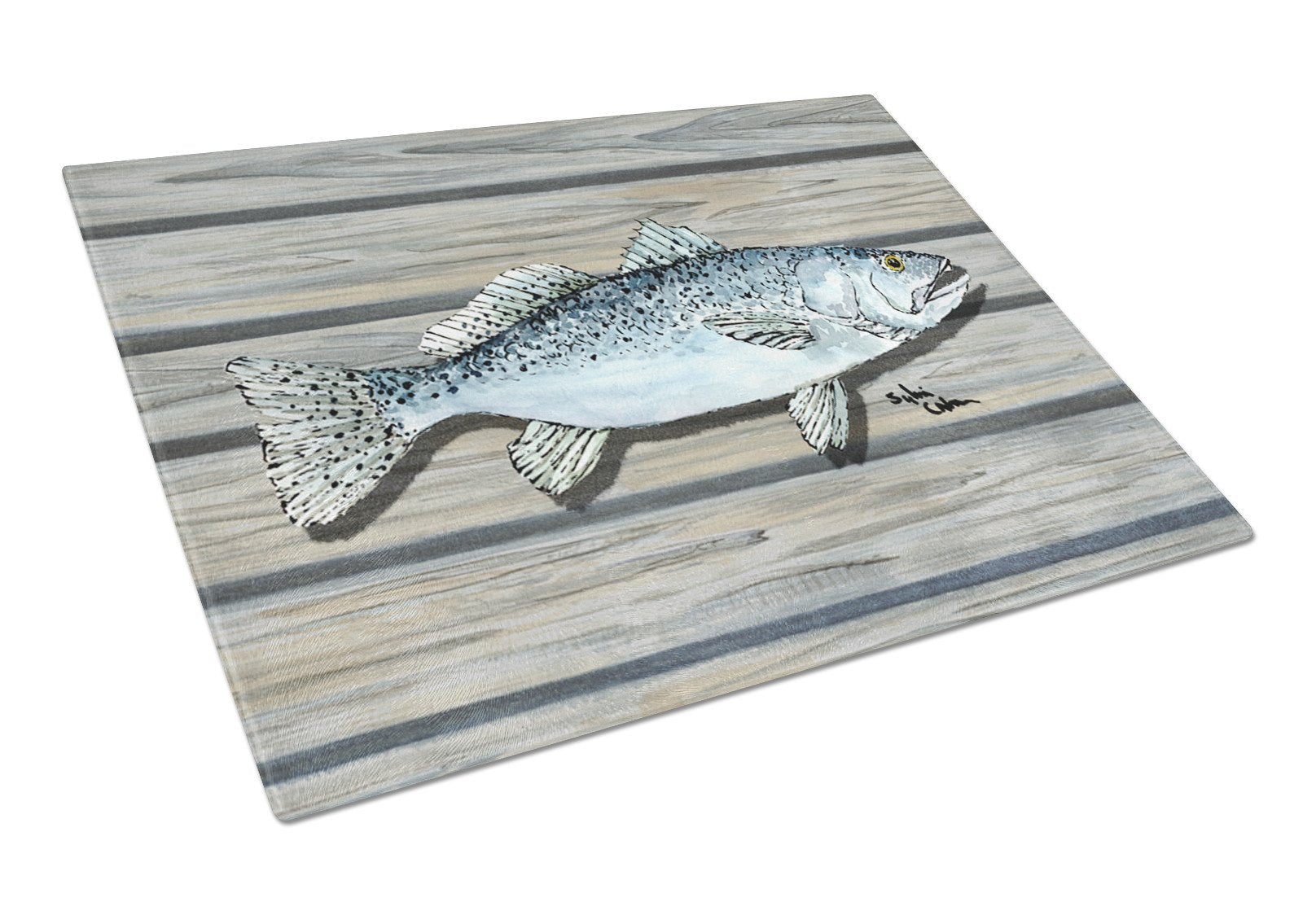 Speckled Trout on the wharf Glass Cutting Board by Caroline's Treasures