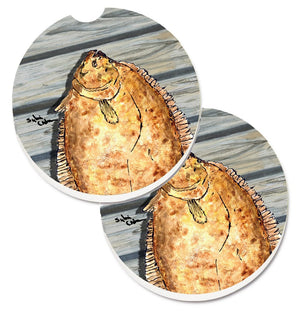 Buy this Fish Flounder Set of 2 Cup Holder Car Coasters 8495CARC