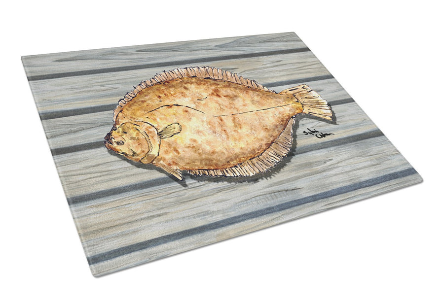 Buy this Flounder on the wharf Glass Cutting Board
