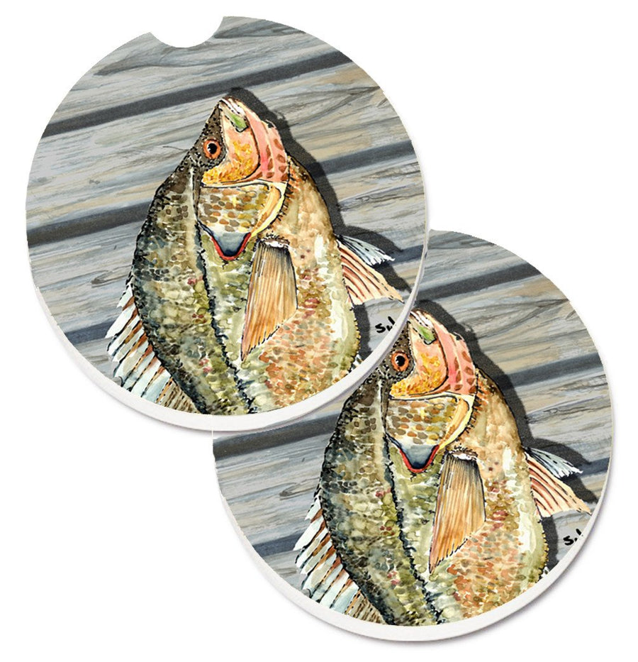 Buy this Croppie Fish on Pier Set of 2 Cup Holder Car Coasters 8498CARC
