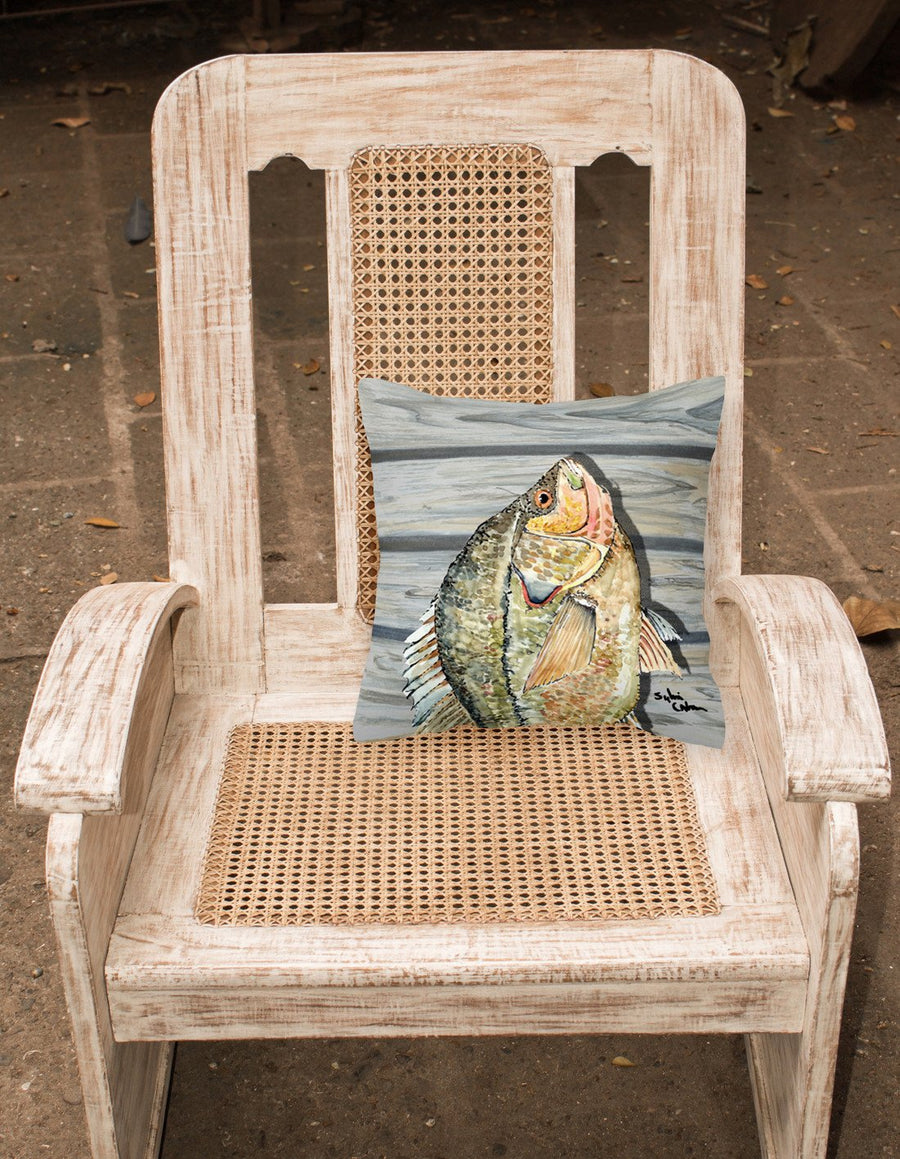 Buy this Croppie Fish on Pier Fabric Decorative Pillow 8498PW1414