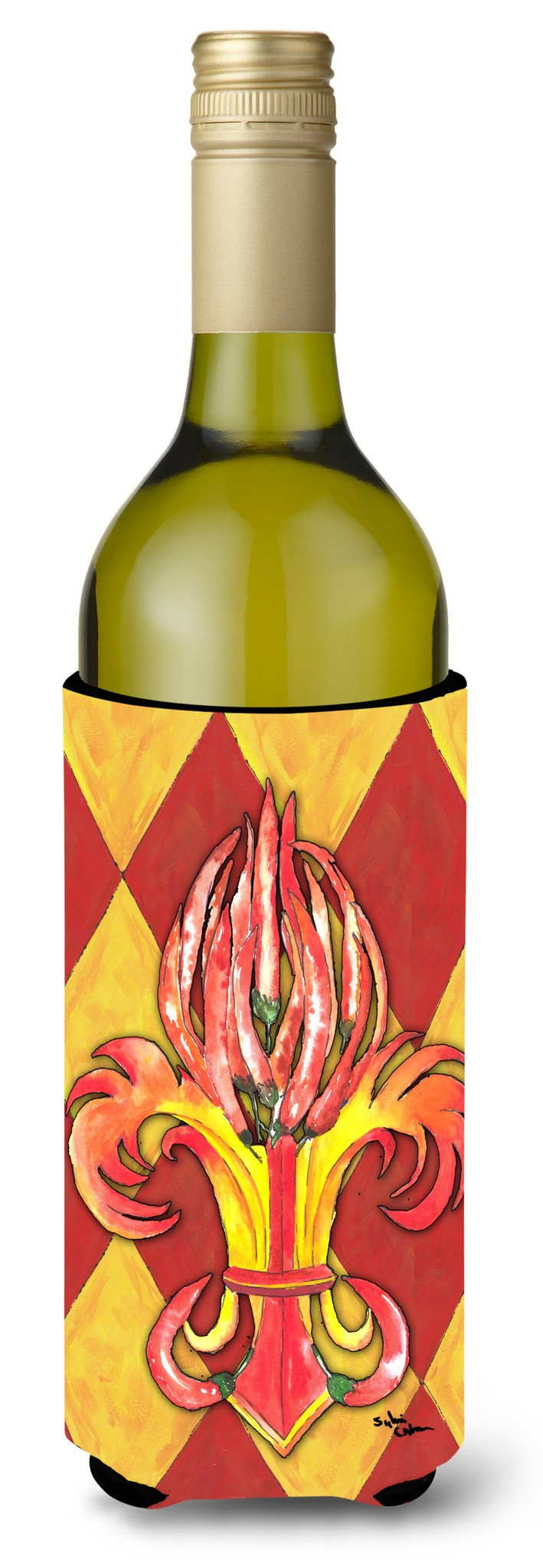 Hot Peppers Fleur de lis Wine Bottle Beverage Insulator Beverage Insulator Hugger by Caroline's Treasures