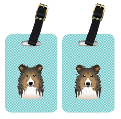 Buy this Pair of Checkerboard Blue Sheltie Luggage Tags BB1180BT