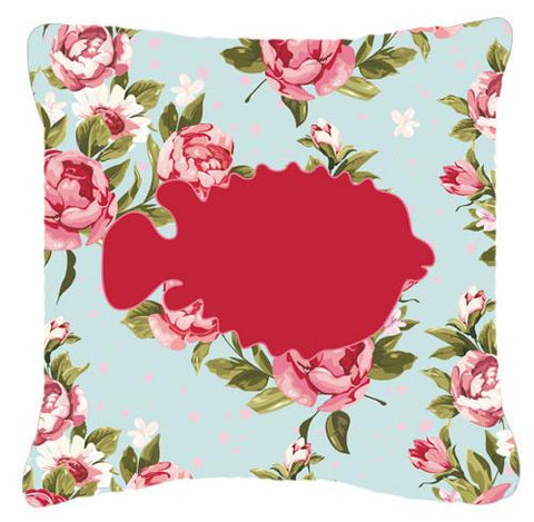 Buy this Fish - Blowfish Shabby Chic Blue Roses   Canvas Fabric Decorative Pillow BB1016