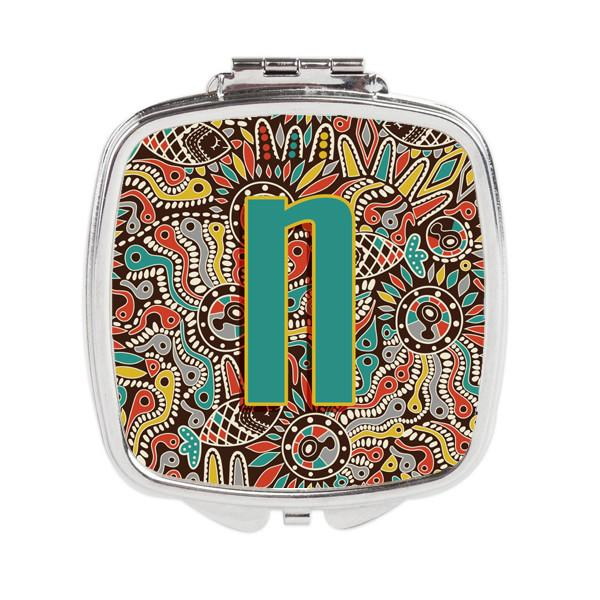 Letter N Retro Tribal Alphabet Initial Compact Mirror CJ2013-NSCM by Caroline's Treasures