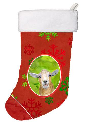 Buy this Goat Red Snowflakes Holiday Christmas  Christmas Stocking RDR3022-CS