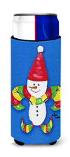 Christmas Snowman Fleur de lis Ultra Beverage Insulators for slim cans 8504MUK by Caroline's Treasures