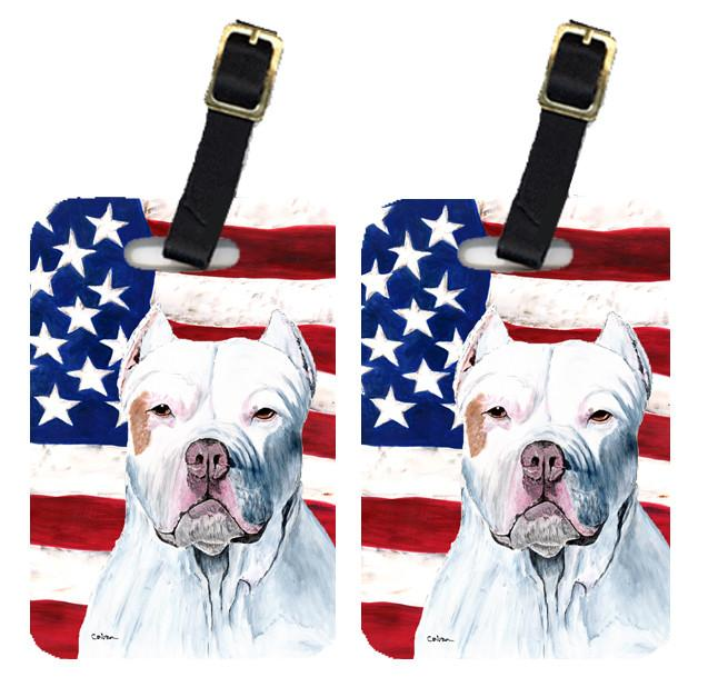 Pair of USA American Flag with Pit Bull Luggage Tags SC9026BT by Caroline's Treasures