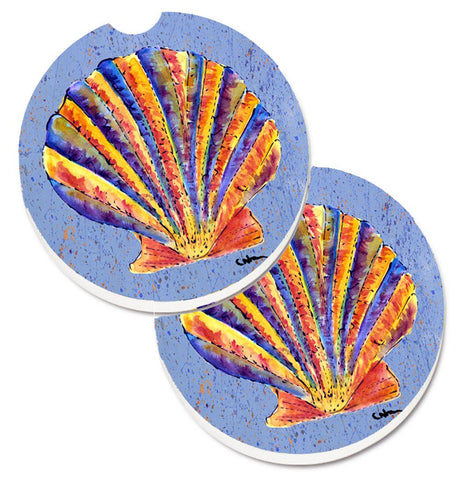 Buy this Scalloped Shell on Blue Set of 2 Cup Holder Car Coasters 8525CARC