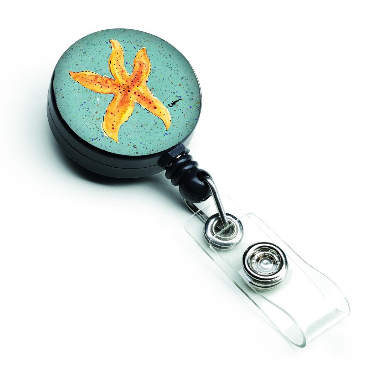 Starfish on Teal Retractable Badge Reel 8527BR by Caroline's Treasures