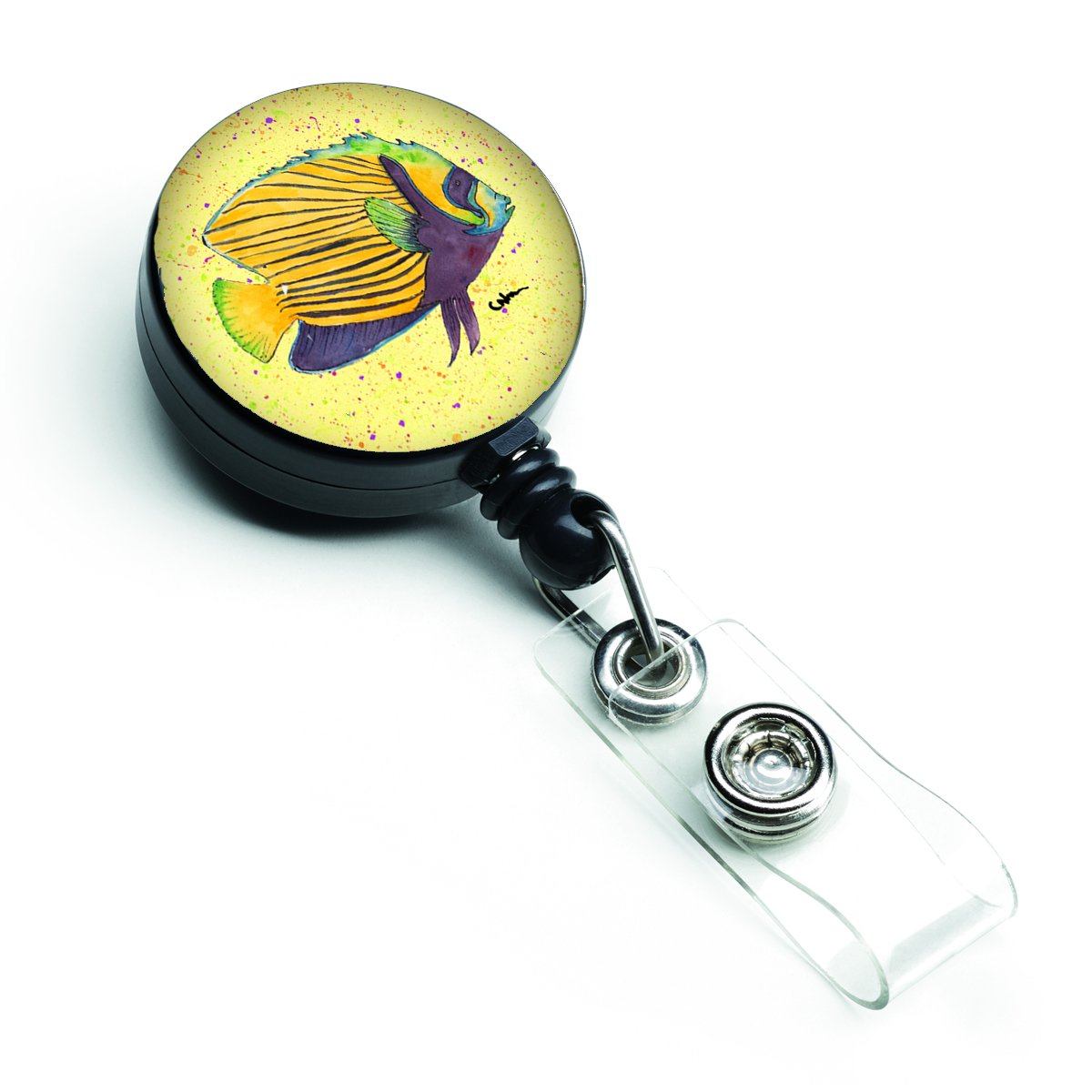Yellow Fish on Yellow Retractable Badge Reel 8528BR by Caroline's Treasures