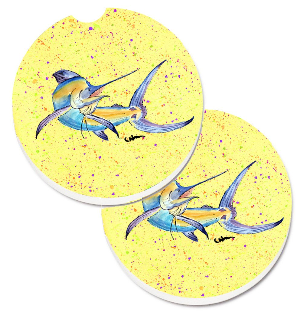 Buy this Blue Marlin on Yellow Set of 2 Cup Holder Car Coasters 8533CARC