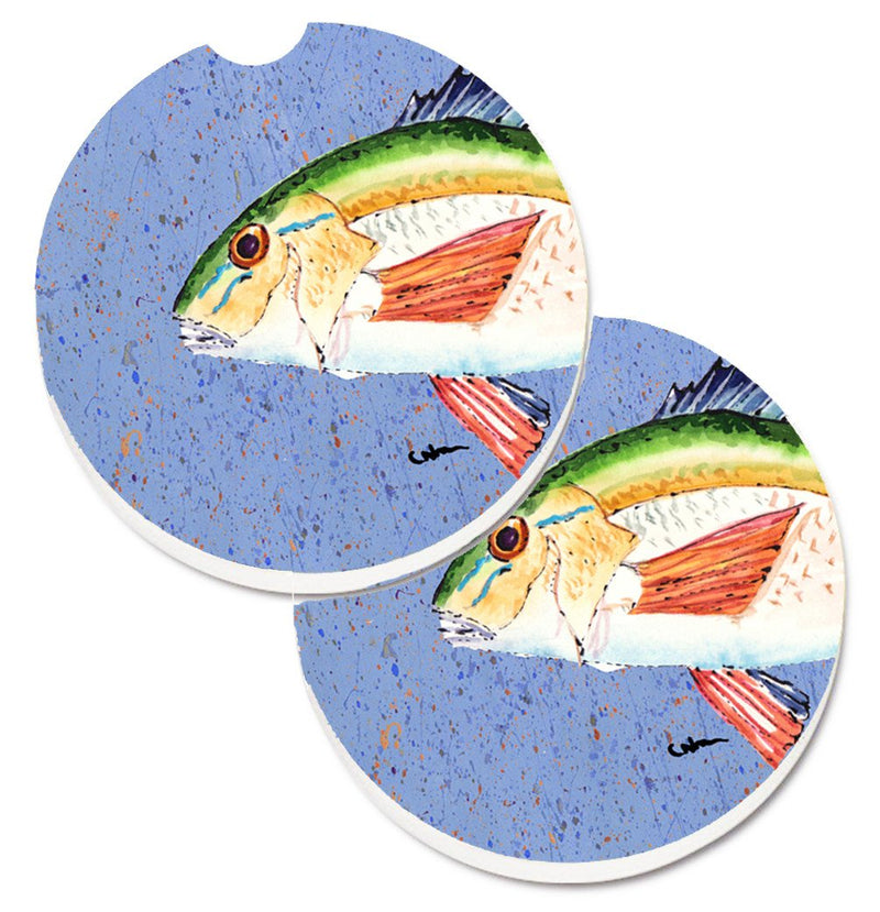 Buy this Rainbow Trout on Blue Set of 2 Cup Holder Car Coasters 8534CARC