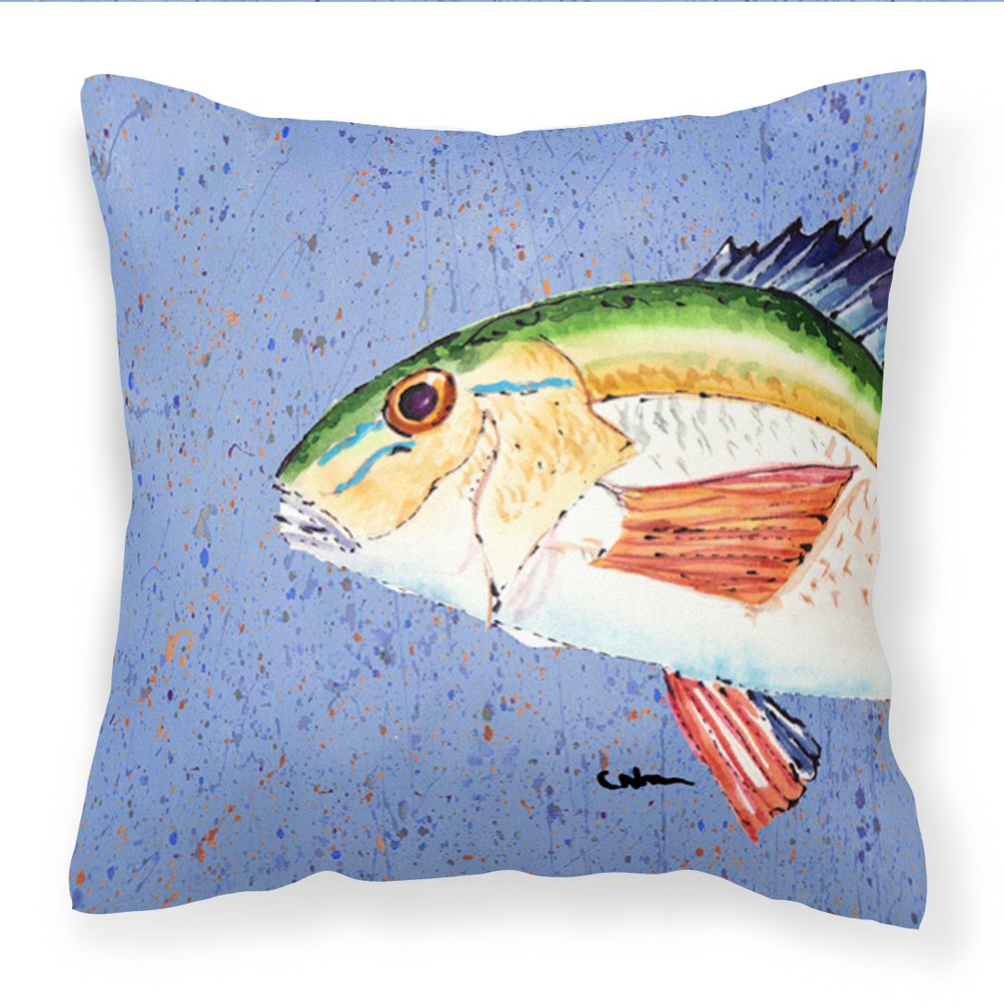 Buy this Rainbow Trout on Blue Fabric Decorative Pillow 8534PW1414