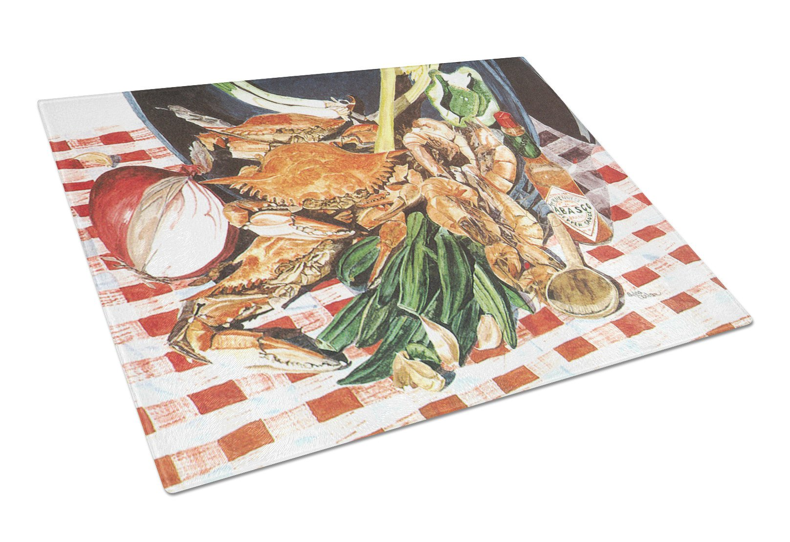 Crab Boil Glass Cutting Board Large by Caroline's Treasures