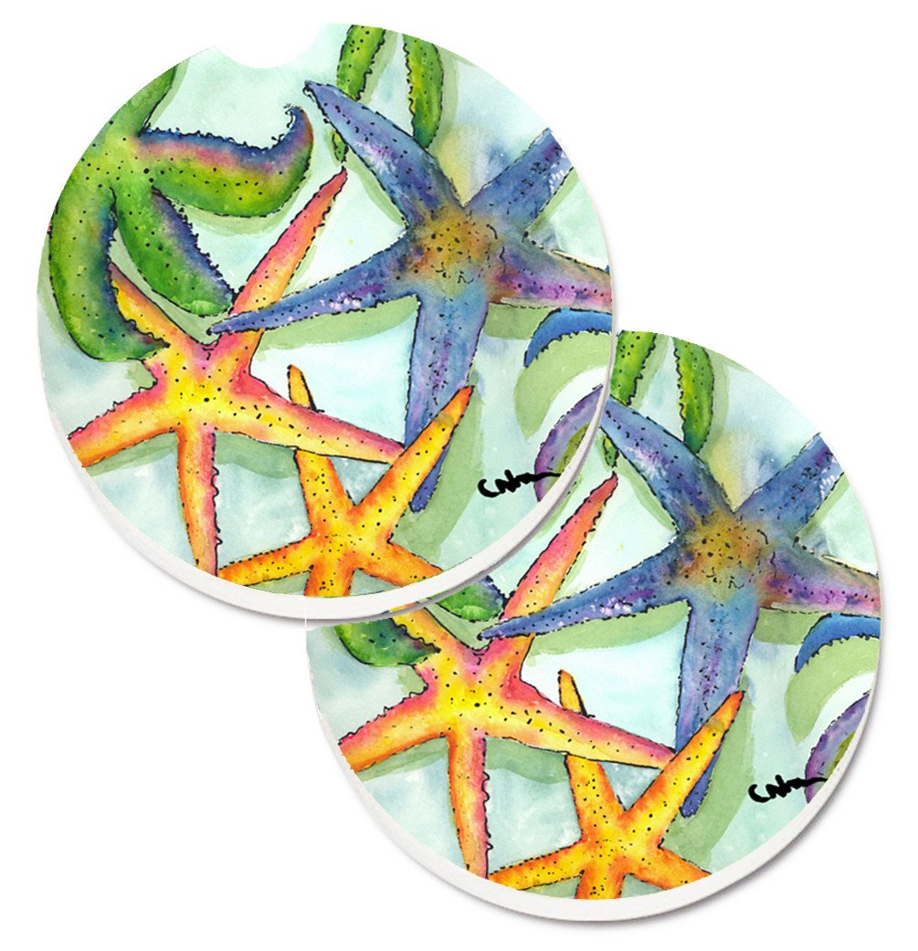 Starfish Set of 2 Cup Holder Car Coasters 8542CARC by Caroline's Treasures