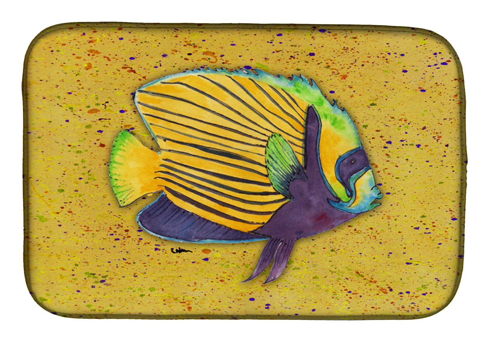 Buy this Tropical Fish on Mustard Dish Drying Mat 8577DDM