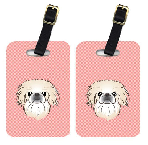 Buy this Pair of Checkerboard Pink Pekingese Luggage Tags BB1221BT