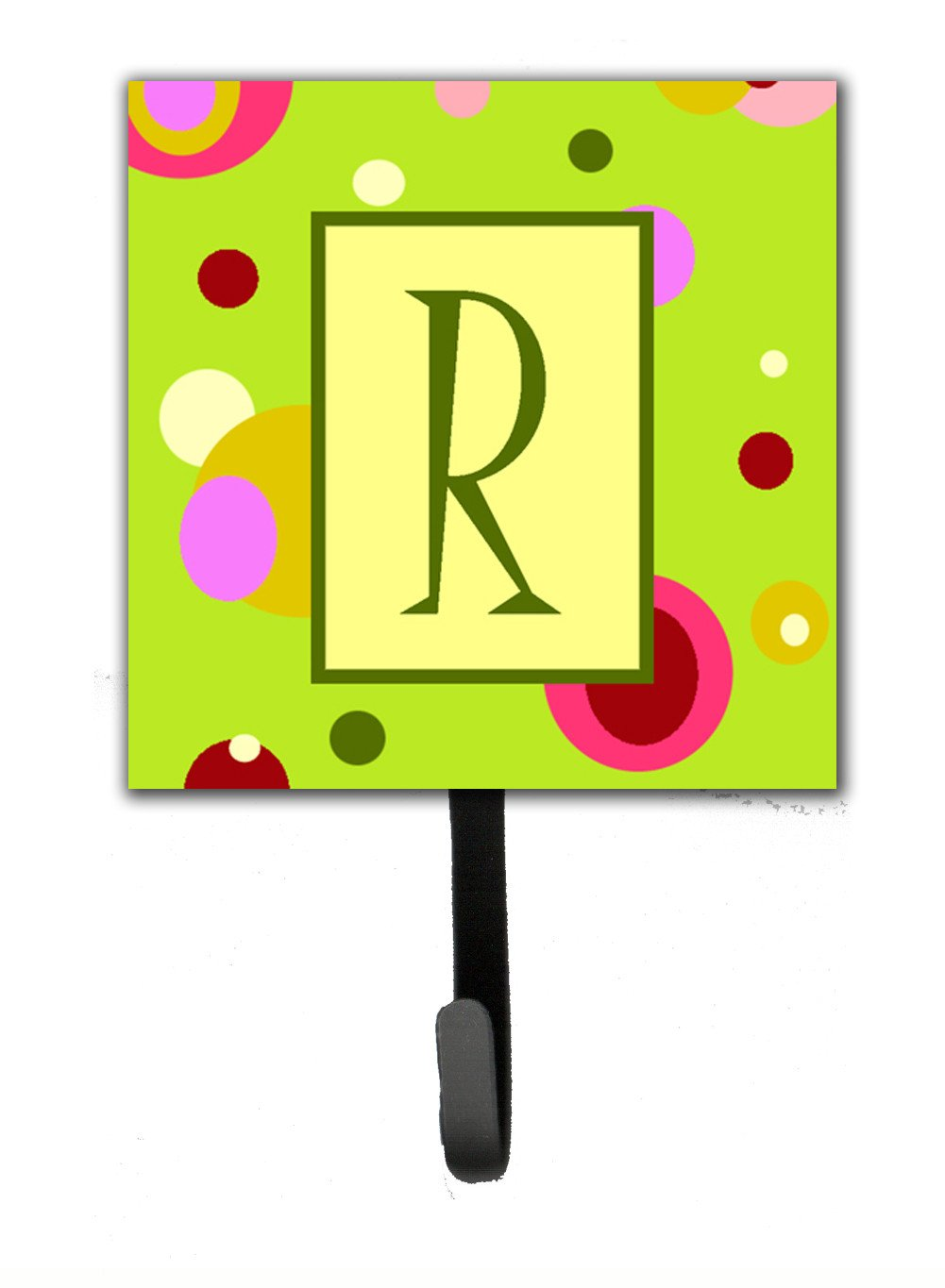 Letter R Initial Monogram - Green Leash Holder or Key Hook by Caroline's Treasures