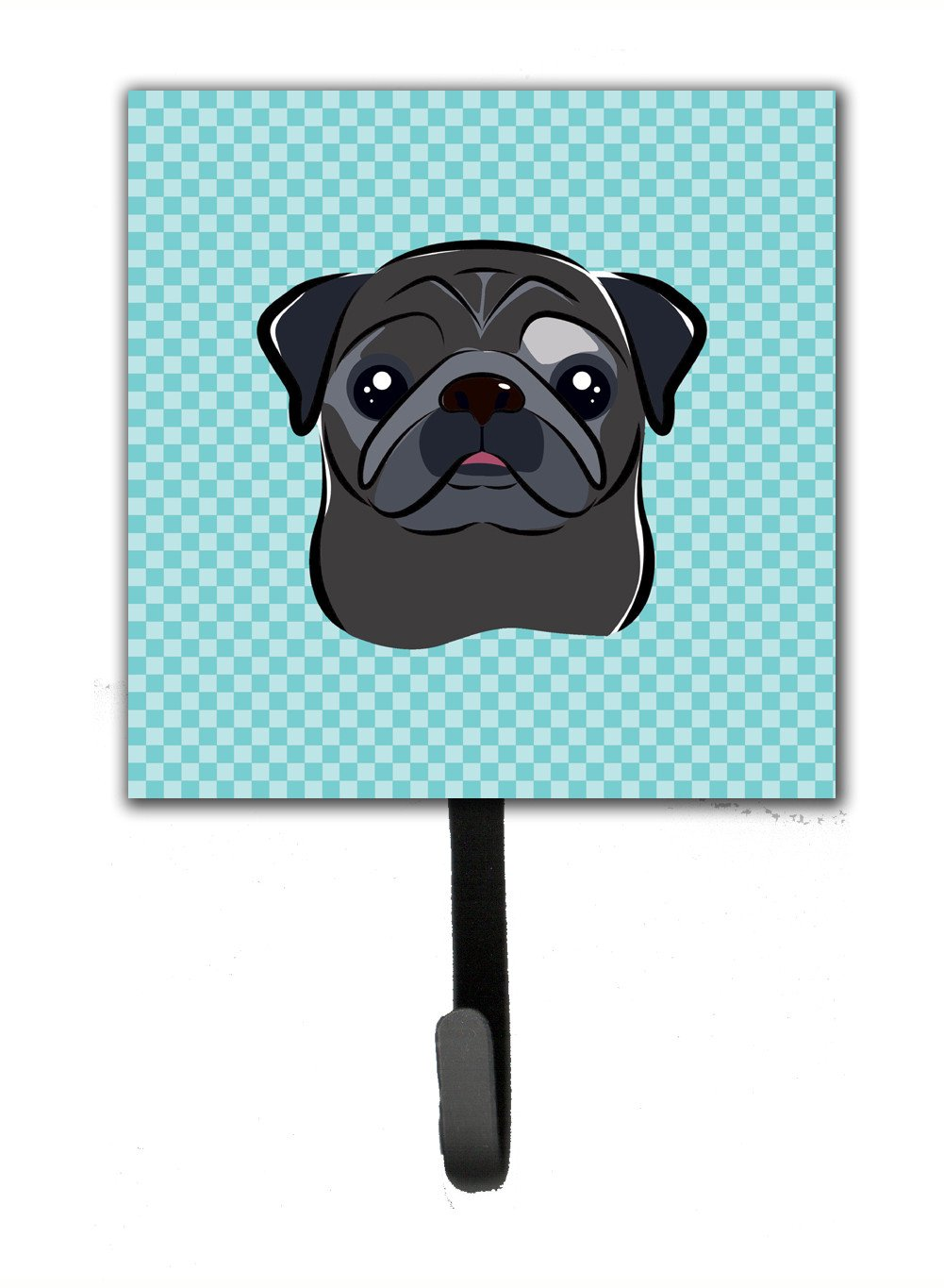 Buy this Checkerboard Blue Black Pug Leash or Key Holder BB1201SH4