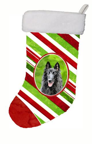 Buy this Belgian Sheepdog Candy Cane Holiday Christmas  Christmas Stocking SC9358
