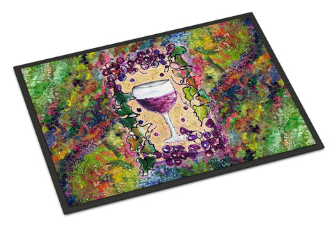 Buy this Red Wine Glass and grapes Indoor or Outdoor Mat 18x27 8616MAT