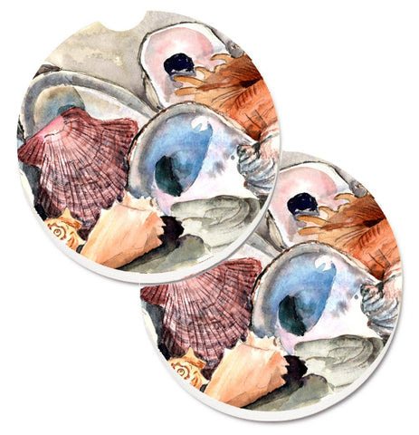 Buy this Sea Shells Set of 2 Cup Holder Car Coasters 8619CARC