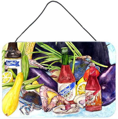 Crystal Hot Sauce with Seafood Wall or Door Hanging Prints 8637DS812 by Caroline's Treasures