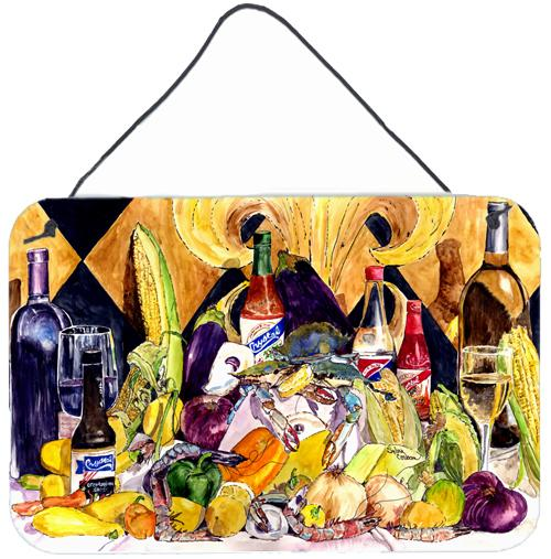 Crystal Hot Sauce with Fleur De lis and Wine Wall or Door Hanging Prints 8638DS812 by Caroline's Treasures
