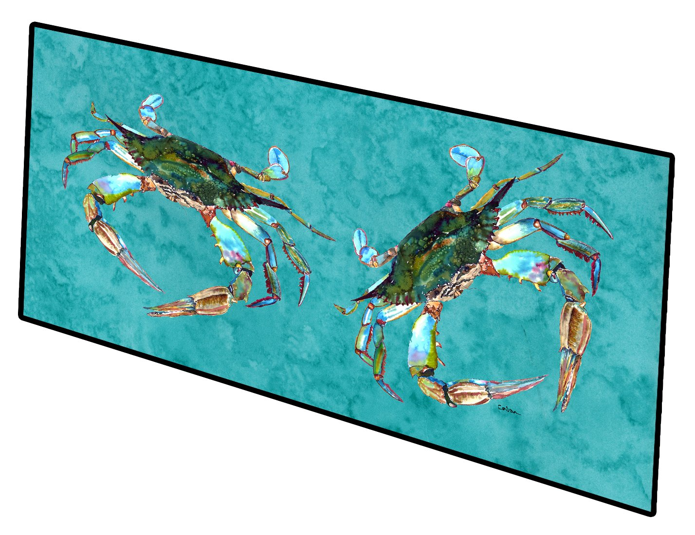 Blue Crab on Teal Indoor or Outdoor Runner Mat 28x58 by Caroline's Treasures