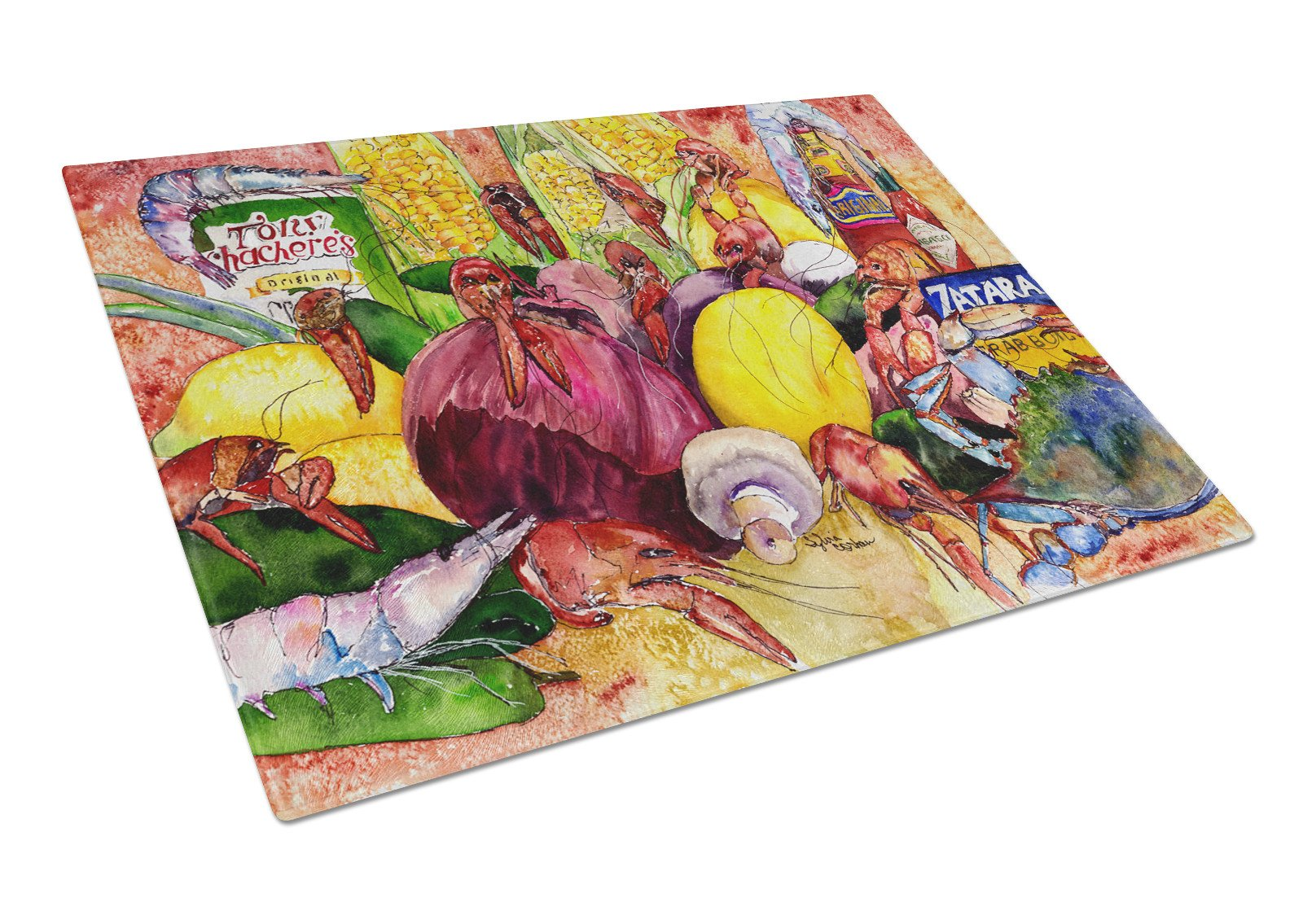 Buy this Crawfish with Spices and Corn Glass Cutting Board Large 8698LCB