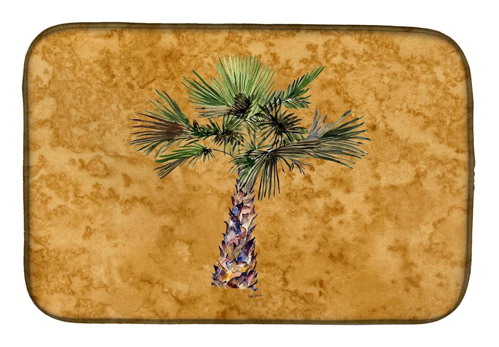 Palm Tree on Gold Dish Drying Mat 8706DDM by Caroline's Treasures