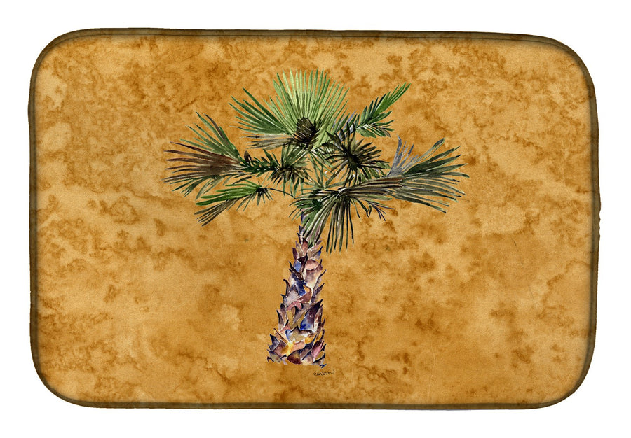 Buy this Palm Tree on Gold Dish Drying Mat 8706DDM