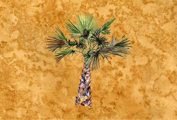 Palm Tree on Gold Fabric Placemat 8706PLMT by Caroline's Treasures