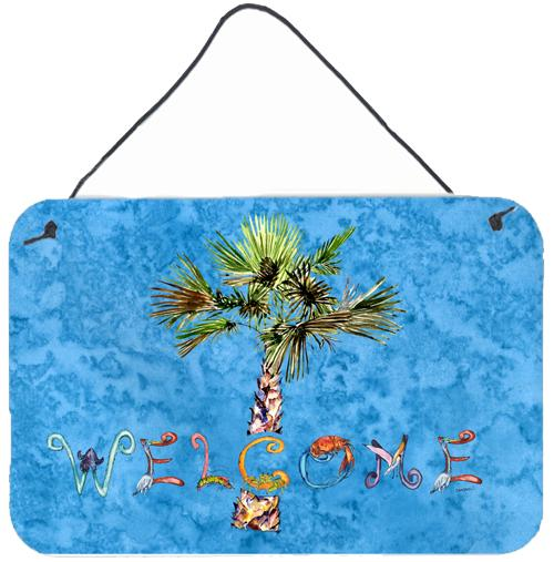 Welcome Palm Tree on Blue Wall or Door Hanging Prints 8708DS812 by Caroline's Treasures