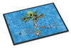Welcome Palm Tree on Blue Indoor or Outdoor Mat 18x27 8708MAT - the-store.com