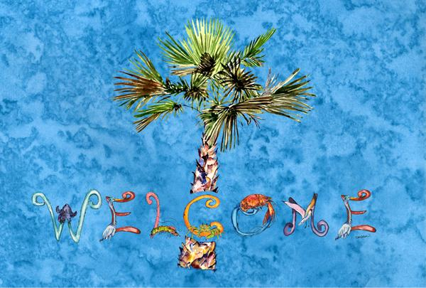 Buy this Welcome Palm Tree on Blue Fabric Placemat 8708PLMT